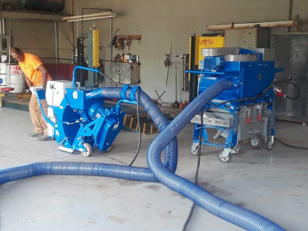 State of the art surface preparation equipment for concrete floors using Shot Blasting